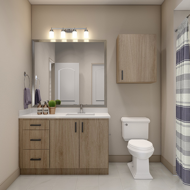 The Braydon - Spacious Bathroom With Bathub And Vanity